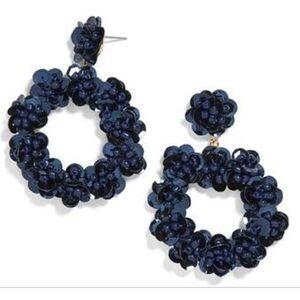 Baublebar Blue Sequin Floral Hoop Earrings